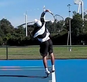 Double pendulum in action during a serve